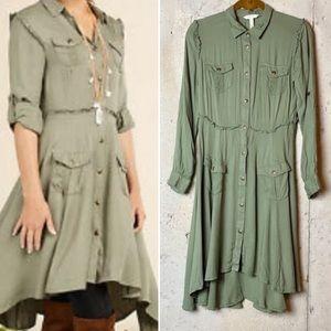 Matilda Jane army green button up high low dress
